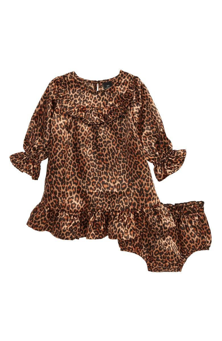 SOMETHING NAVY Ruffle Print Dress, Main, color, TAN MACAROON ANIMAL
