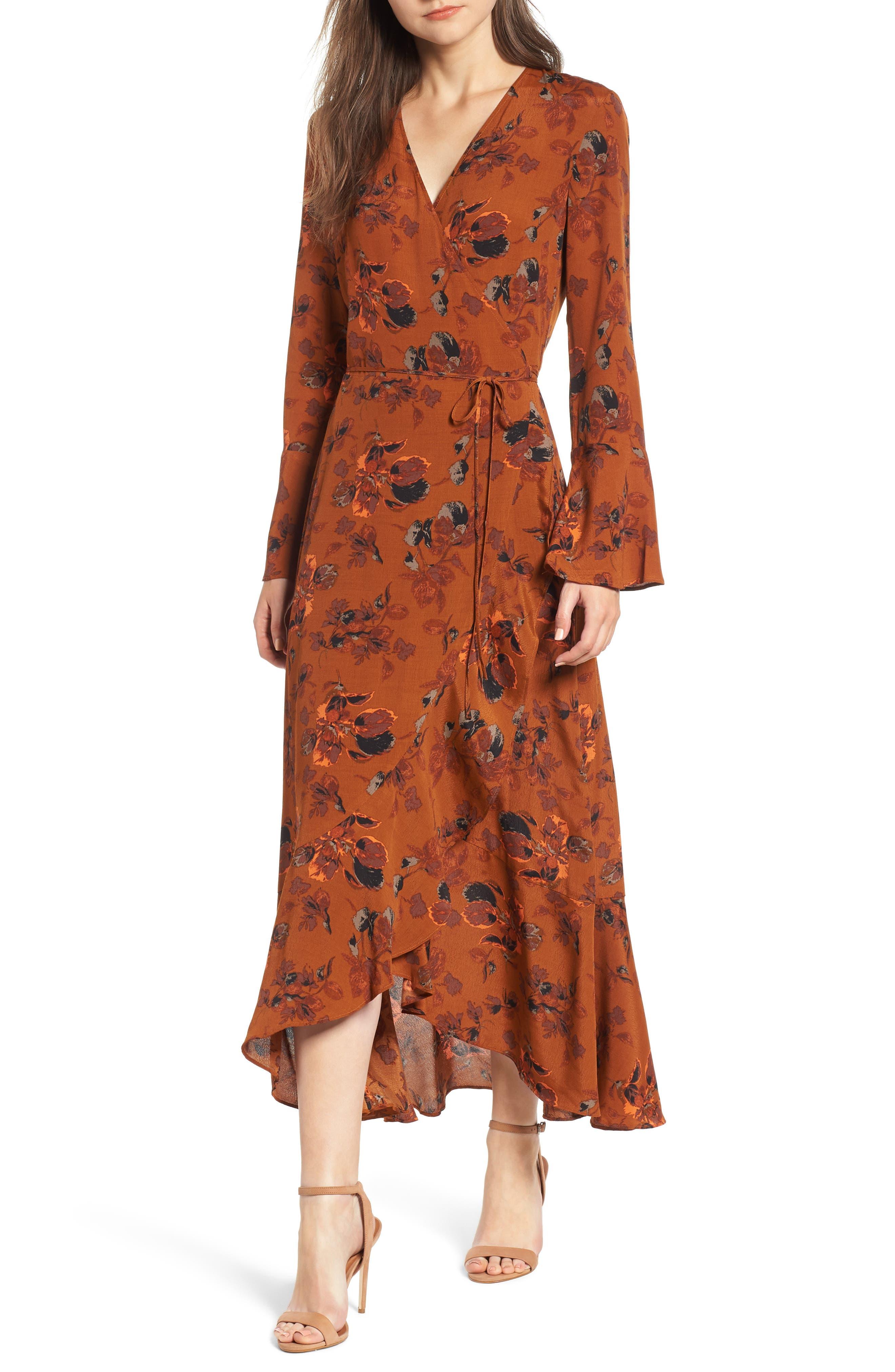 Bell Sleeve Wrap Midi Dress, Main, color, RUST CARMEL FALL FOLIAGE