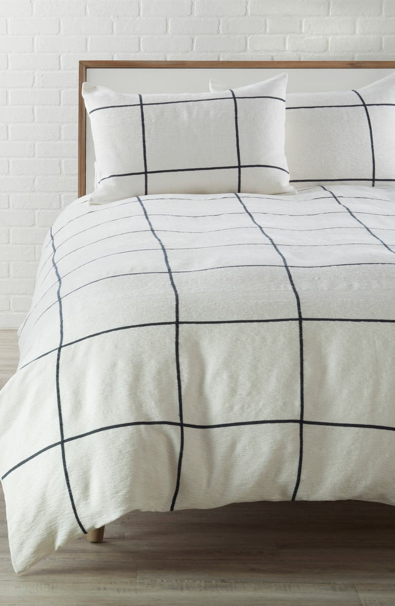 TREASURE & BOND Grid Duvet Cover, Main, color, 900