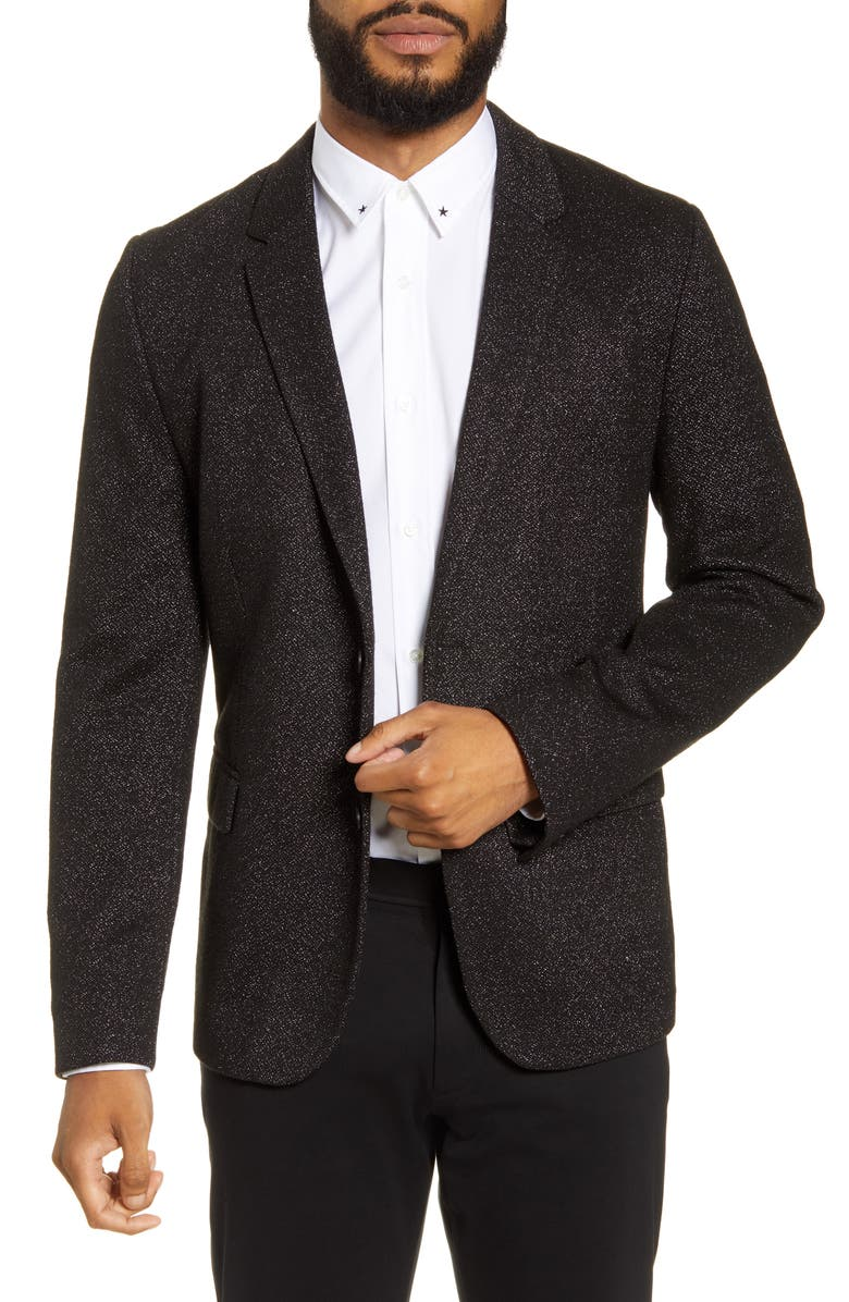HUGO Arwido Slim Fit Jersey Sport Coat, Main, color, BLACK