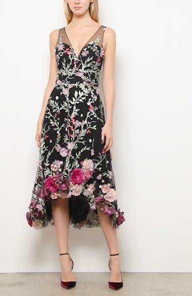 Floral Appliqué High/Low Cocktail Dress, video thumbnail
