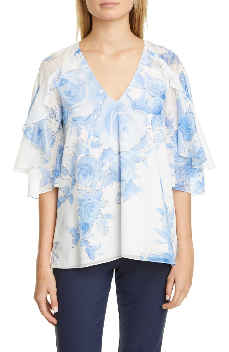 LELA ROSE Floral Print Ruffle Sleeve Top, Main, color, 400