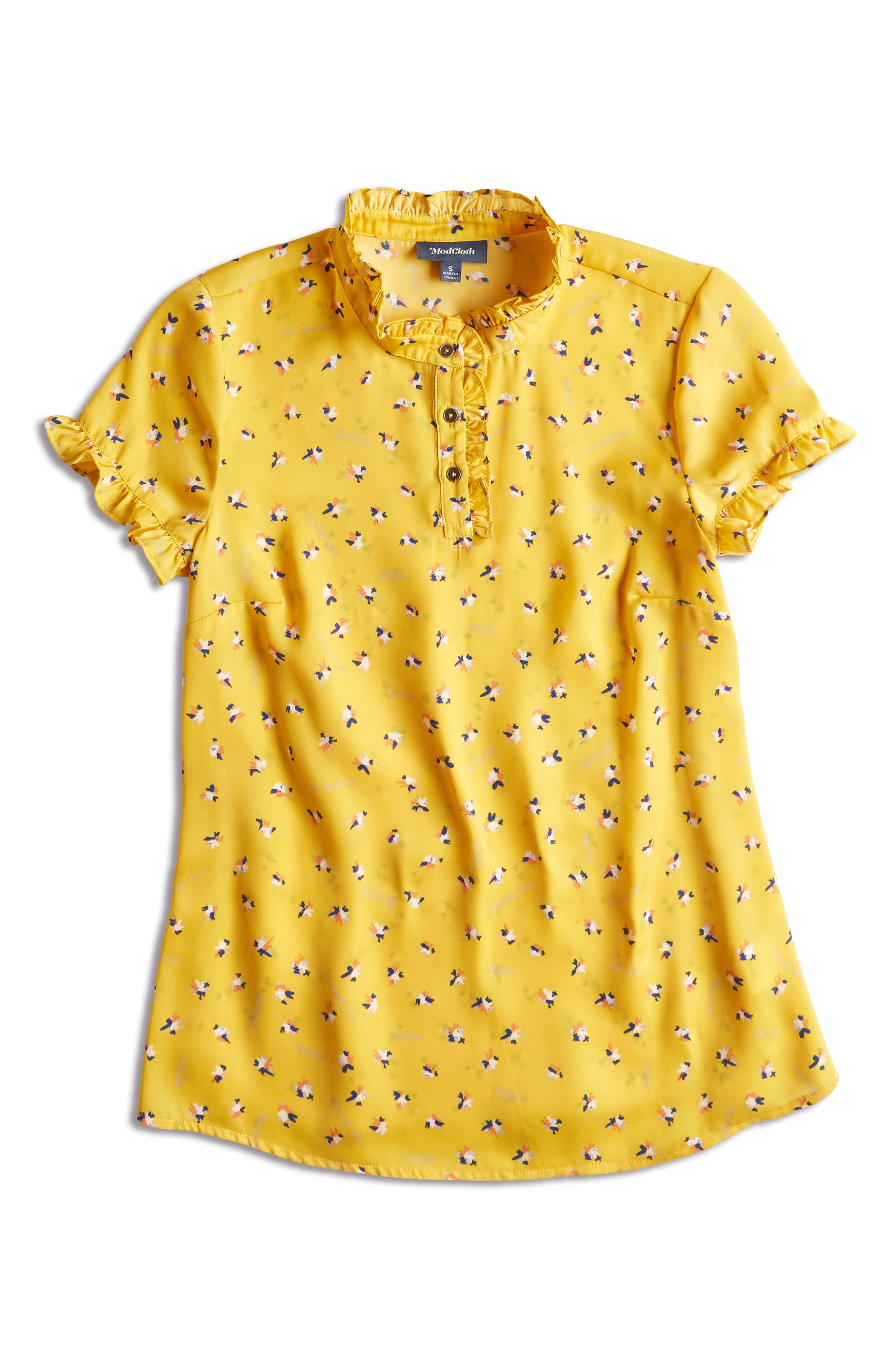 ,                             Form of Flattery Ruffle Top,                             Alternate thumbnail 5, color,                             YELLOW MULTI
