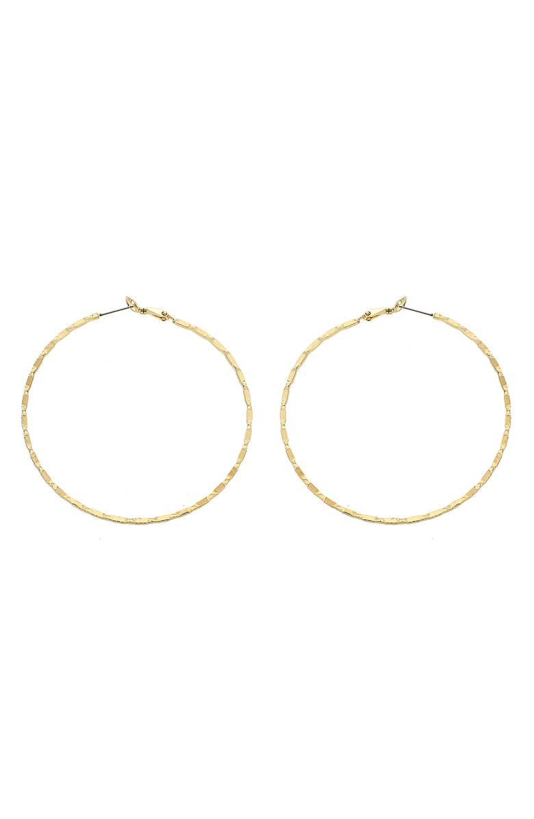 PANACEA Textured Hoop Earrings, Main, color, GOLD
