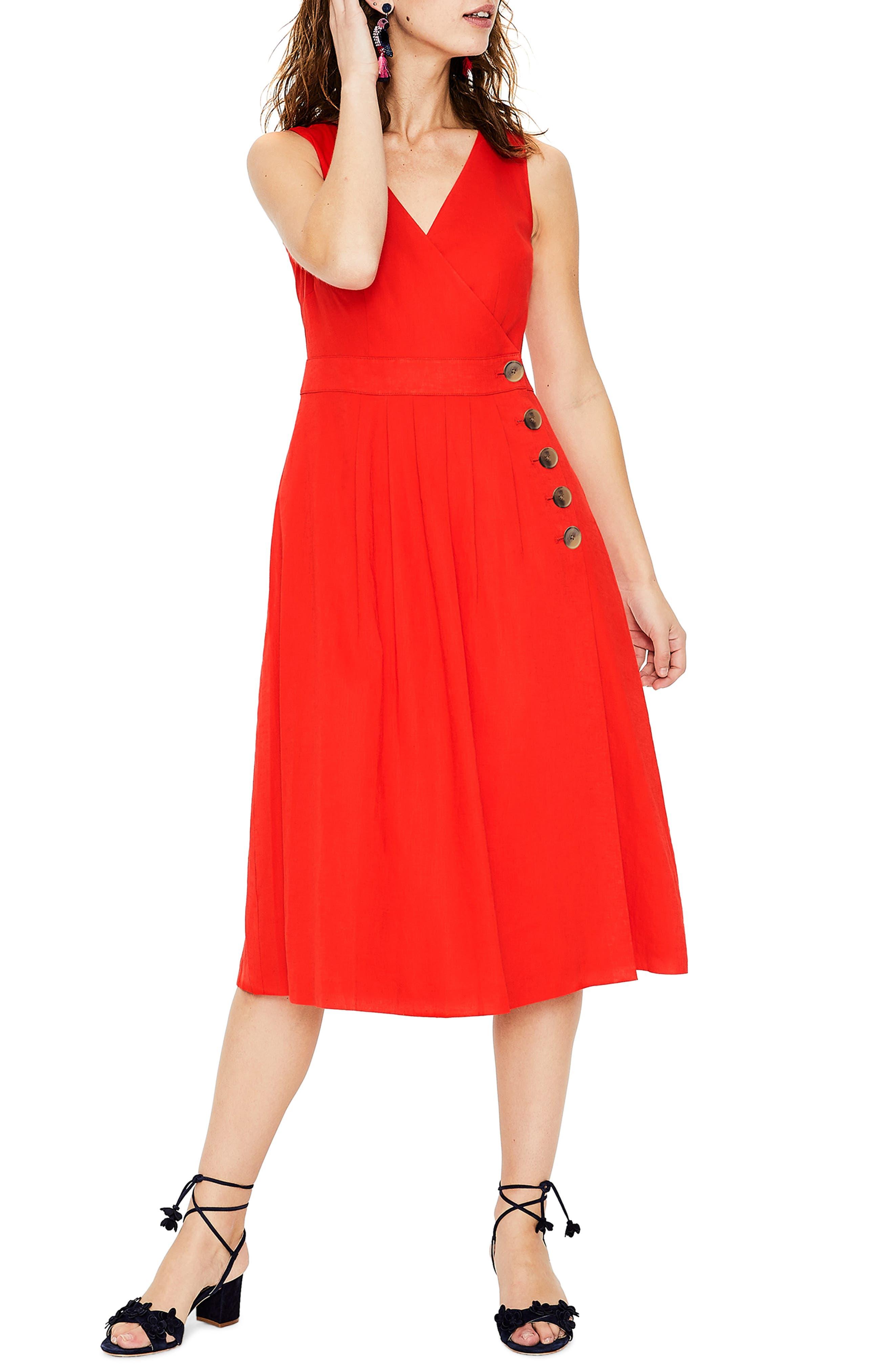Boden Arwen Wrap Midi Dress, Red