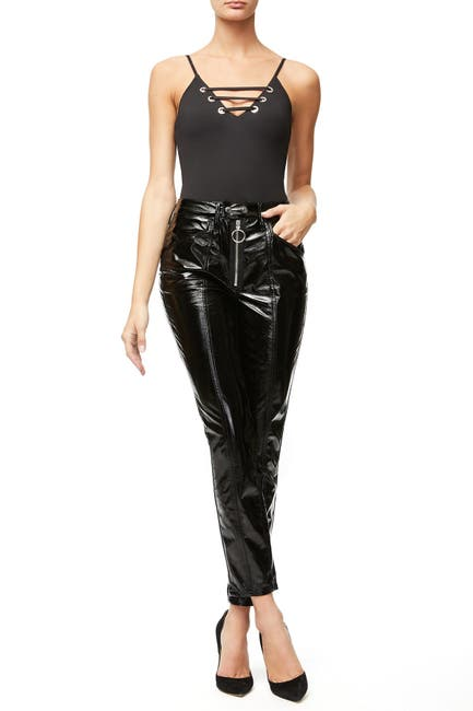 Image of Good American Good Straight Faux Patent Leather Pants
