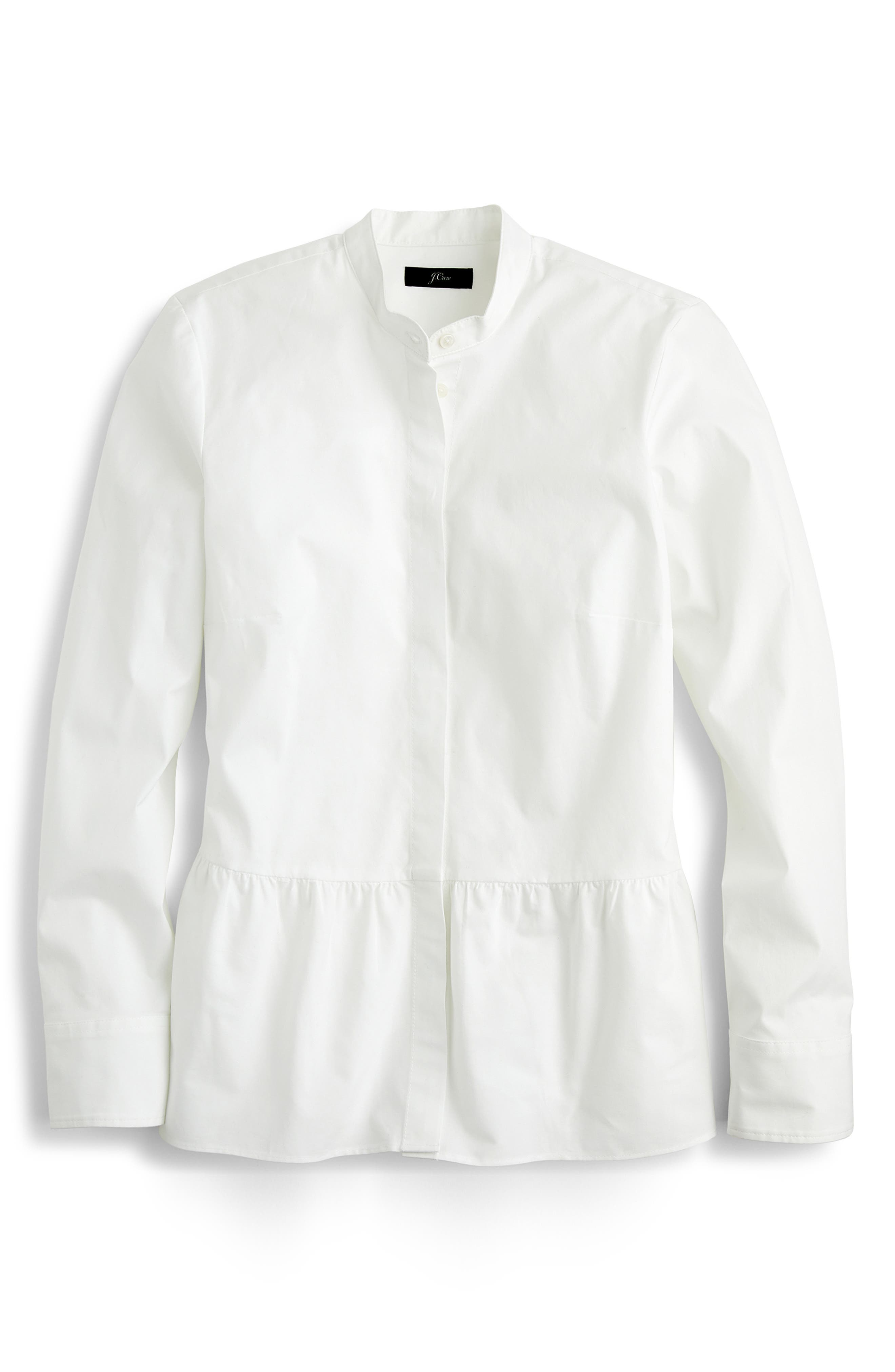 ,                             Stretch Button-Up Peplum Shirt,                             Alternate thumbnail 5, color,                             WHITE