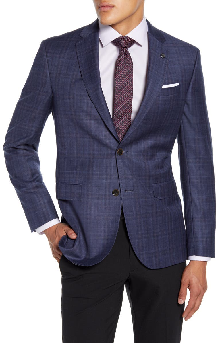 TED BAKER LONDON Roger Trim Fit Plaid Wool Sport Coat, Main, color, BLUE