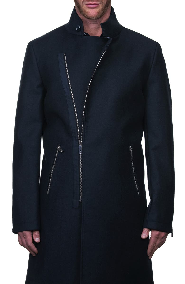 MACEOO Zipfur Asymmetrical Zip-Up Overcoat, Main, color, BLACK