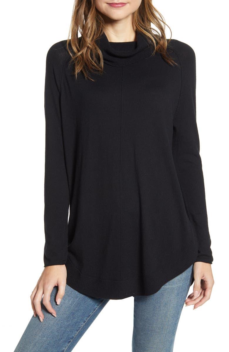 CASLON<SUP>®</SUP> Turtleneck Tunic Sweater, Main, color, 001