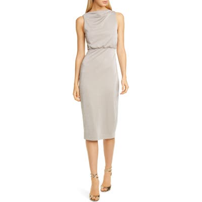 Badgley Mischka Metallic Jersey Cocktail Dress, Beige
