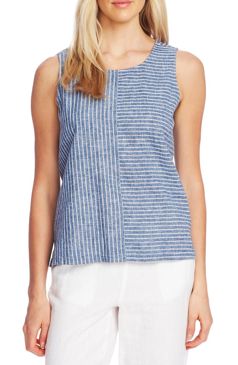 VINCE CAMUTO Ticking Stripe Sleeveless Top, Main, color, DARK NAVY
