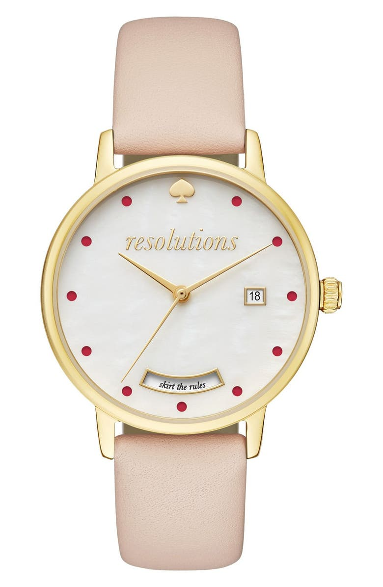 KATE SPADE NEW YORK metro resolution leather band watch, 34mm, Main, color, 200