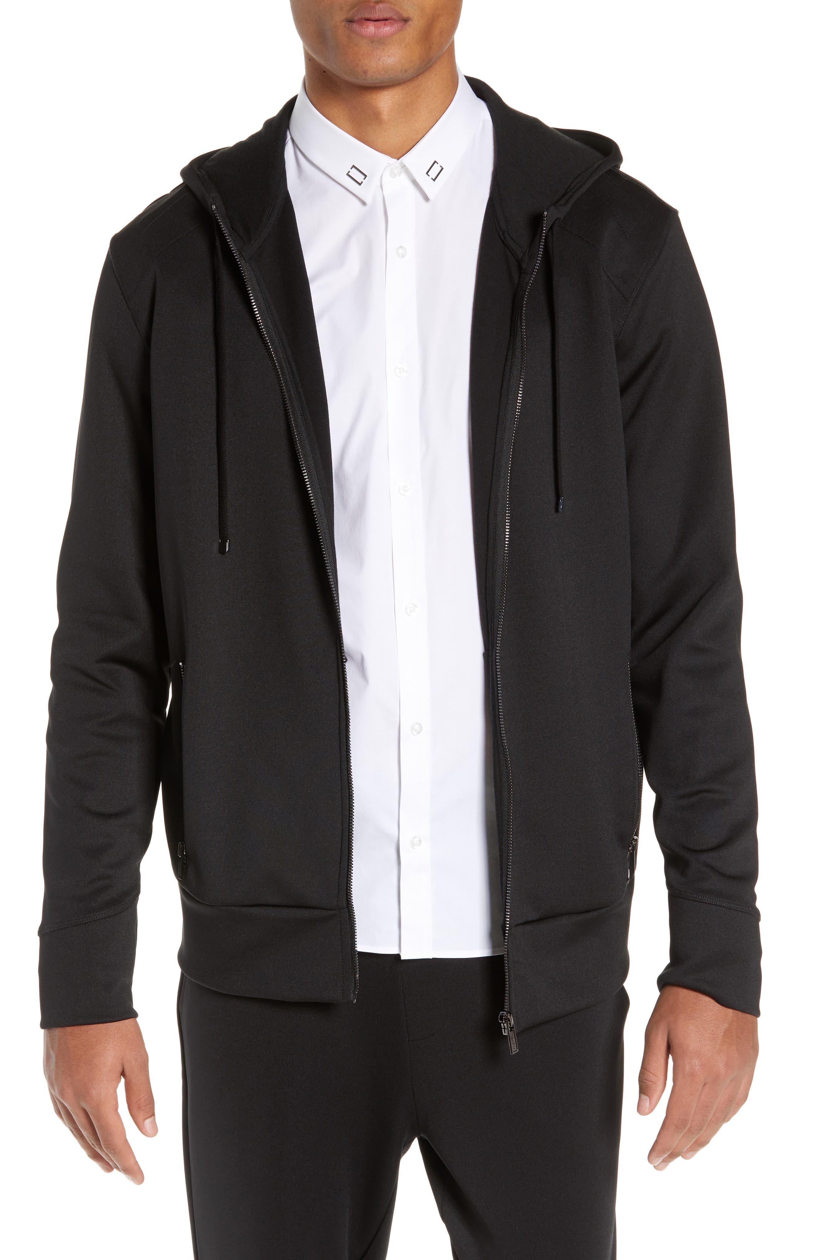 Dantony Regular Fit Zip Hoodie, Main, color, BLACK