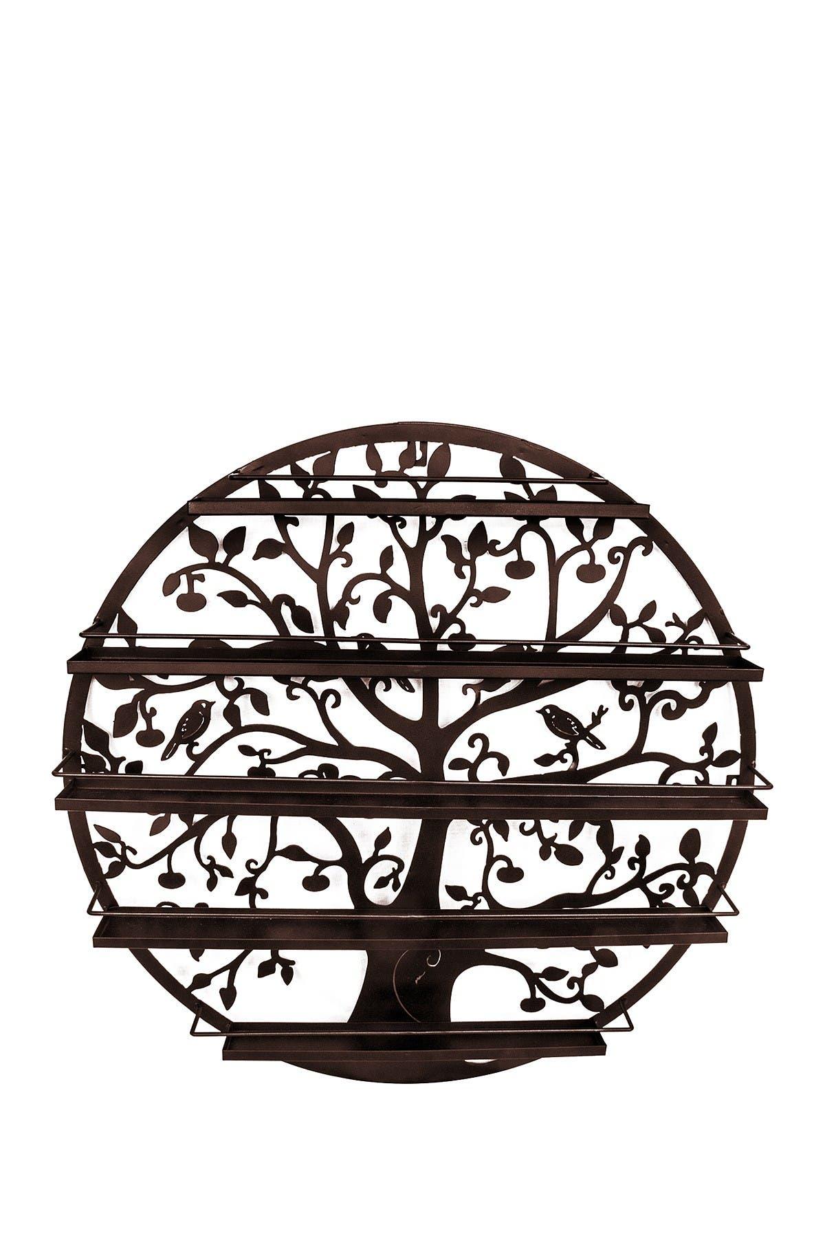 Image of Sorbus Bronze Round 5 Tier Tree Silhouette Salon Nail Polish Rack/Wall Art Display