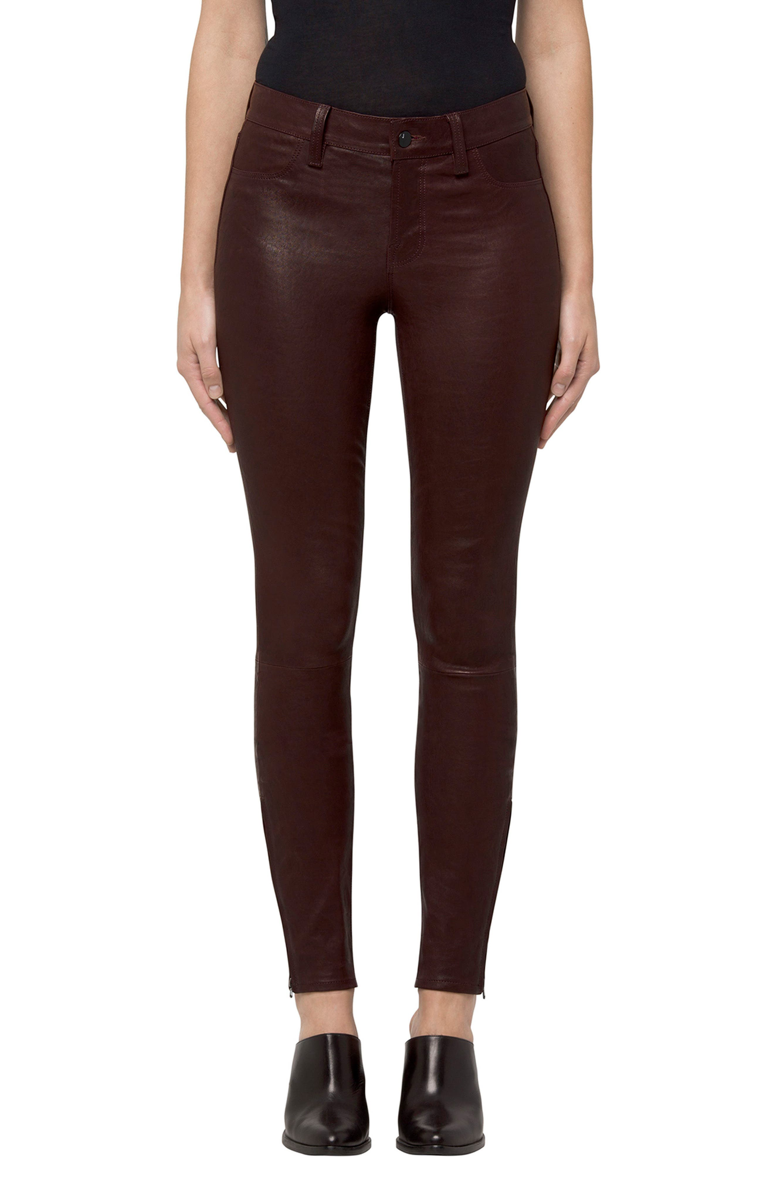 ,                             '8001' Lambskin Leather Pants,                             Main thumbnail 30, color,                             608
