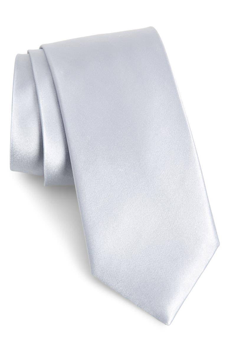NORDSTROM MEN'S SHOP Solid Silk Tie, Main, color, PLATINUM