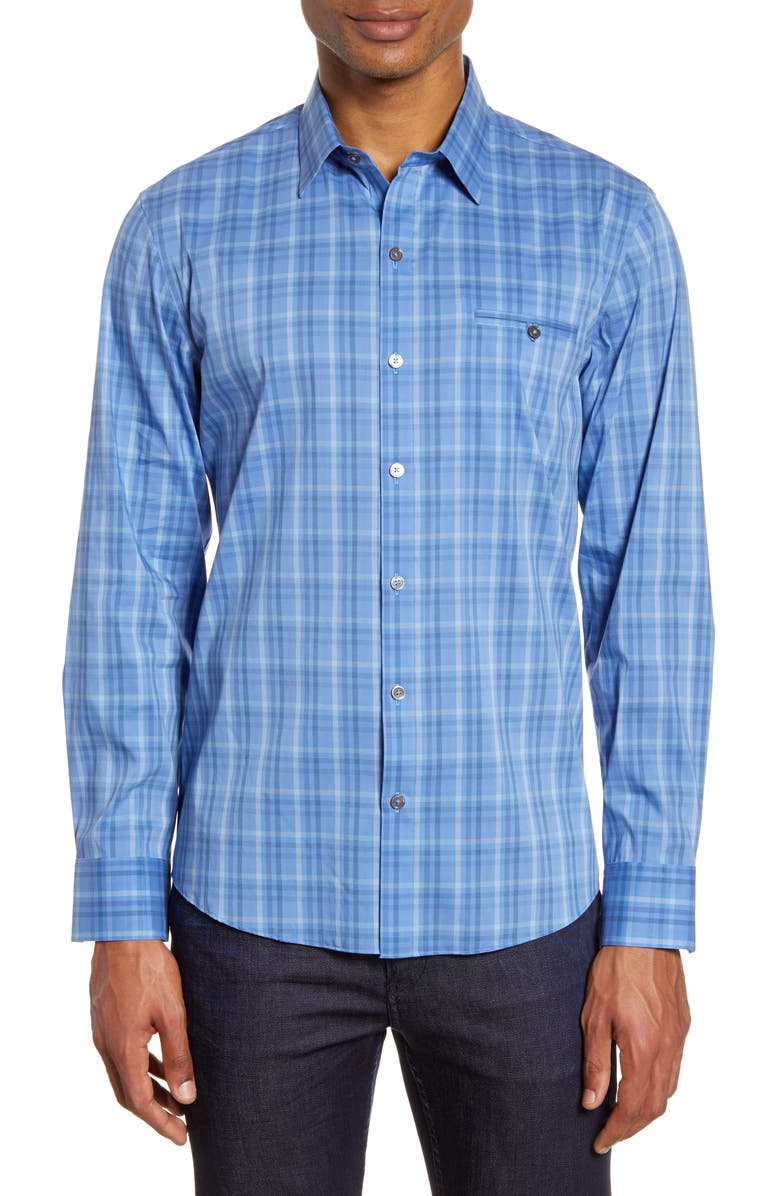 ZACHARY PRELL Soleto Regular Fit Plaid Button-Up Shirt, Main, color, PURPLE