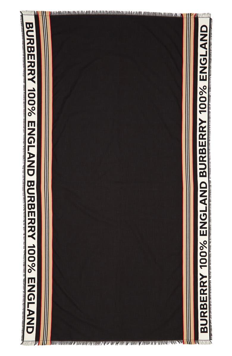 BURBERRY Heritage Stripe Ribbon Scarf, Main, color, BLACK