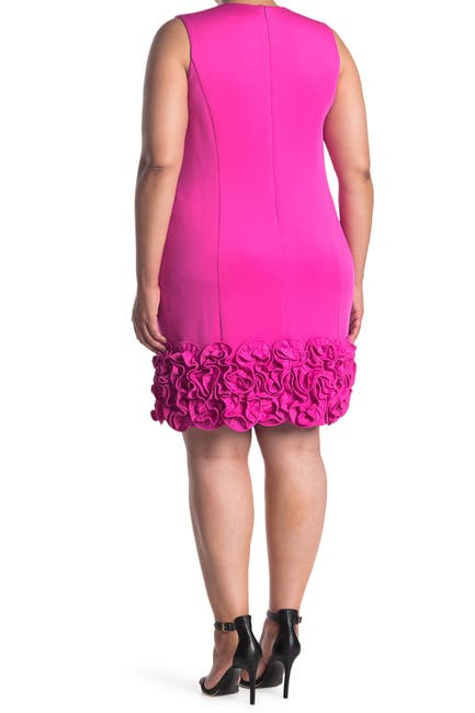 Image of Donna Ricco Ruffle Hem V-Neck Sheath Dress