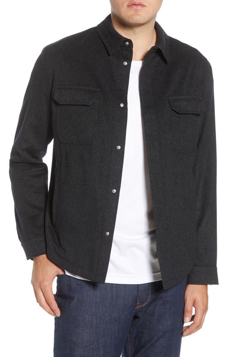 PETER MILLAR COLLECTION Featherweight Journeyman Cashmere Shirt Jacket, Main, color, DOLOMITE GREY