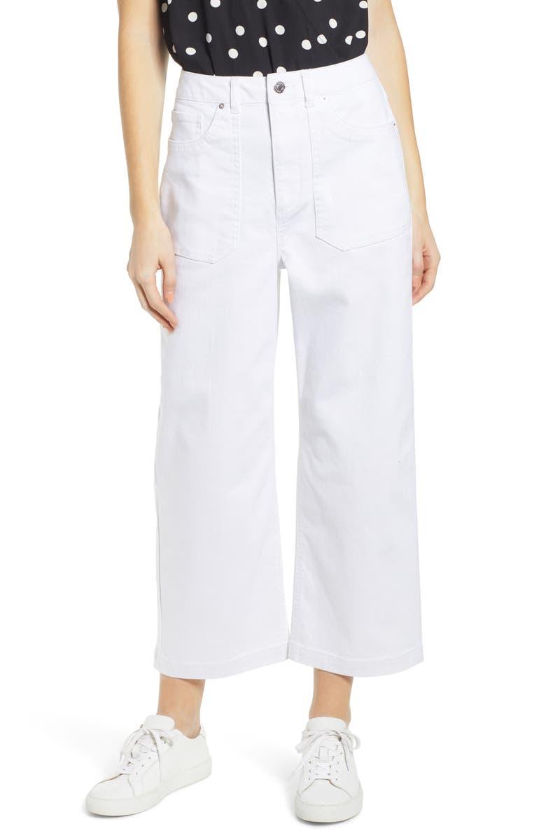 VERO MODA Katie High Waist Wide Leg Crop Jeans, Main, color, 100