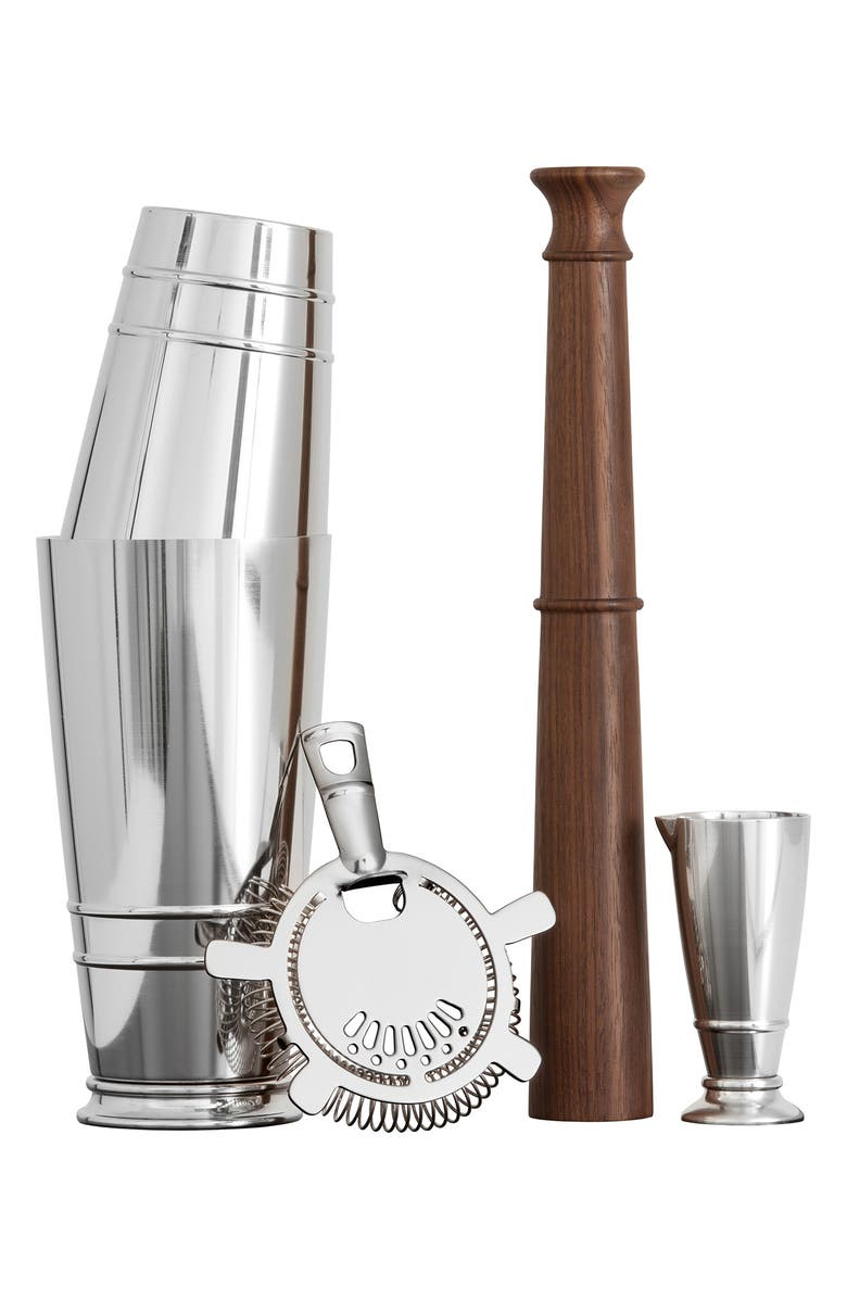 FORTESSA Crafthouse 4-Piece Cocktail Shaker Set, Main, color, SILVER