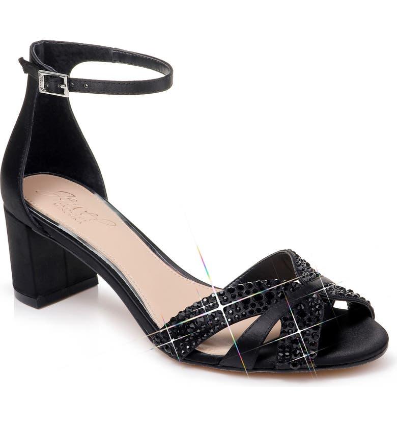 JEWEL BADGLEY MISCHKA Sequoia Crystal Embellished Ankle Strap Sandal, Main, color, BLACK SATIN