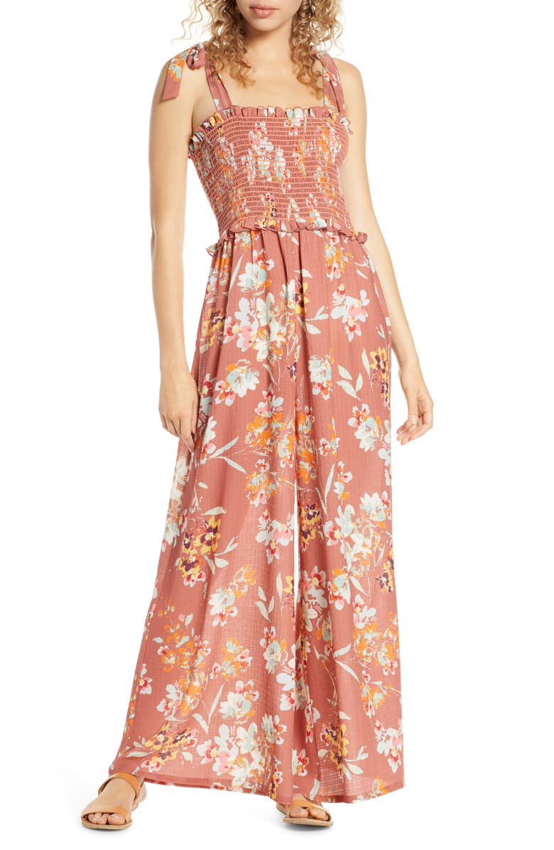 CHELSEA28 Dana Smocked Cover-Up Jumpsuit, Main, color, PINK CANYON SIENNA BLOOMS