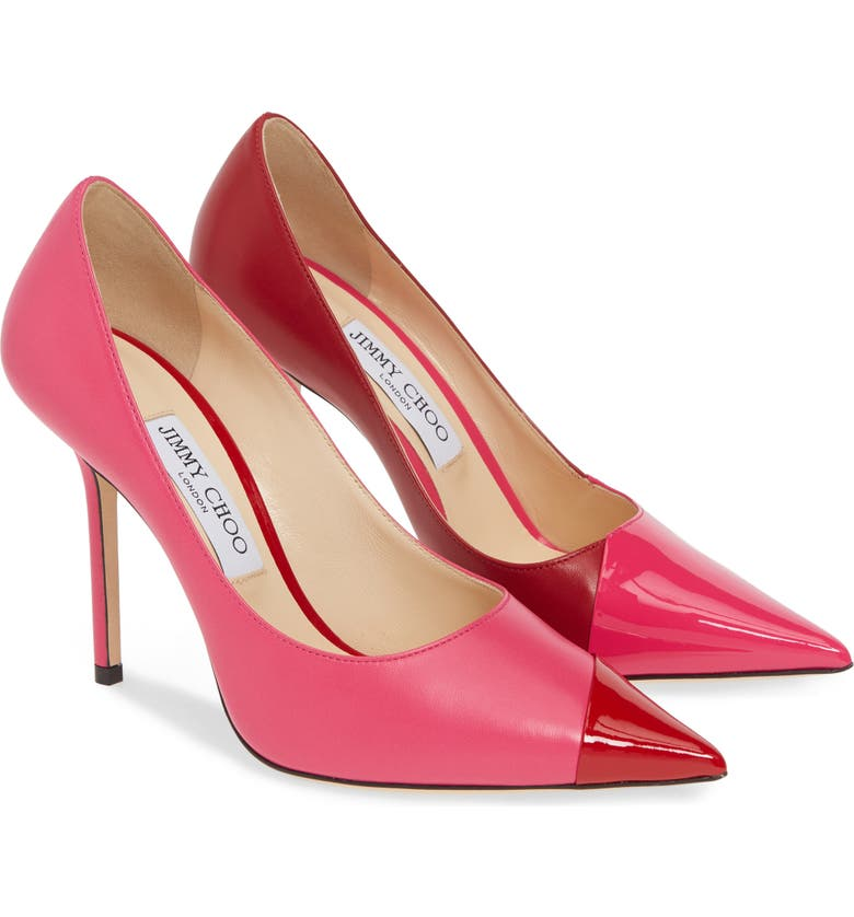 JIMMY CHOO Love Asymmetrical Cap Toe Pump, Alternate, color, HOT PINK/ RED