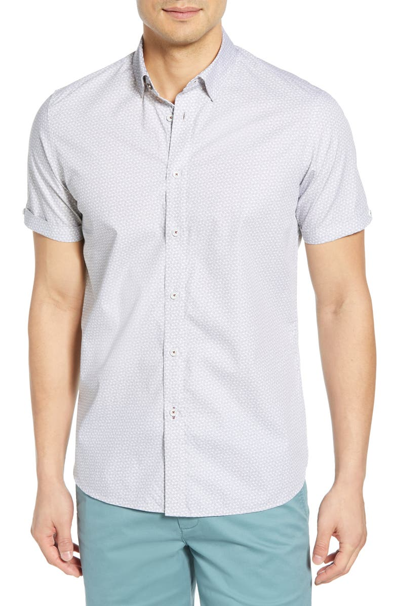 TED BAKER LONDON Rakoon Slim Fit Sport Shirt, Main, color, LIGHT GREY