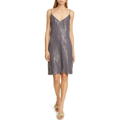 Equipment Tansie Sequin Stripe Silk Georgette Shift Dress, Grey