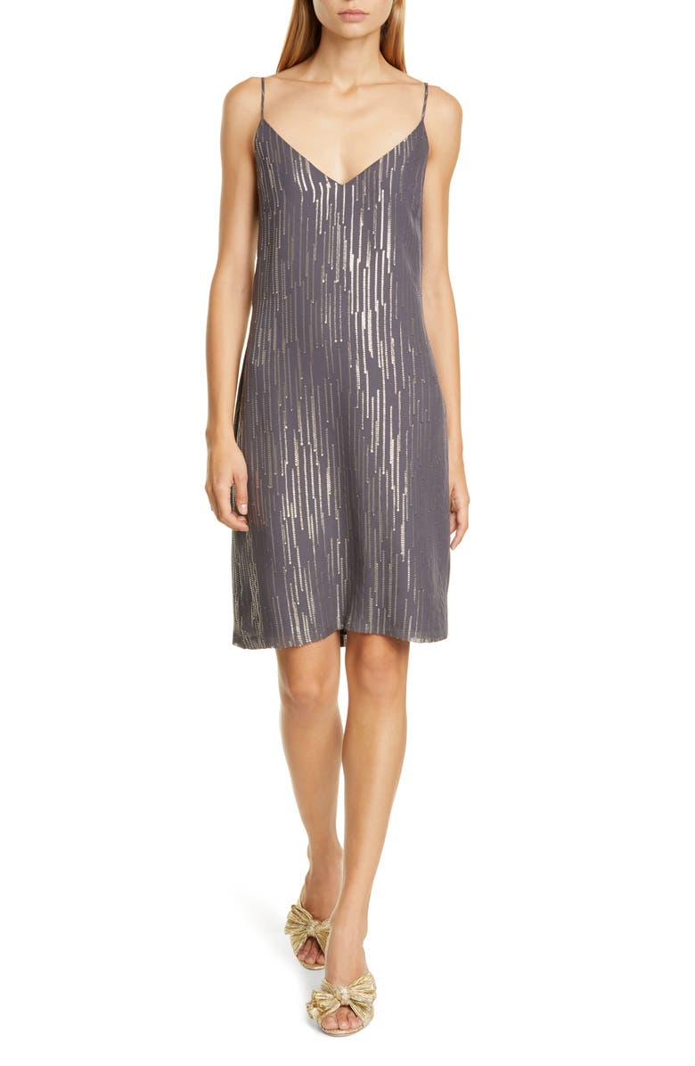 EQUIPMENT Tansie Sequin Stripe Silk Georgette Shift Dress, Main, color, 021