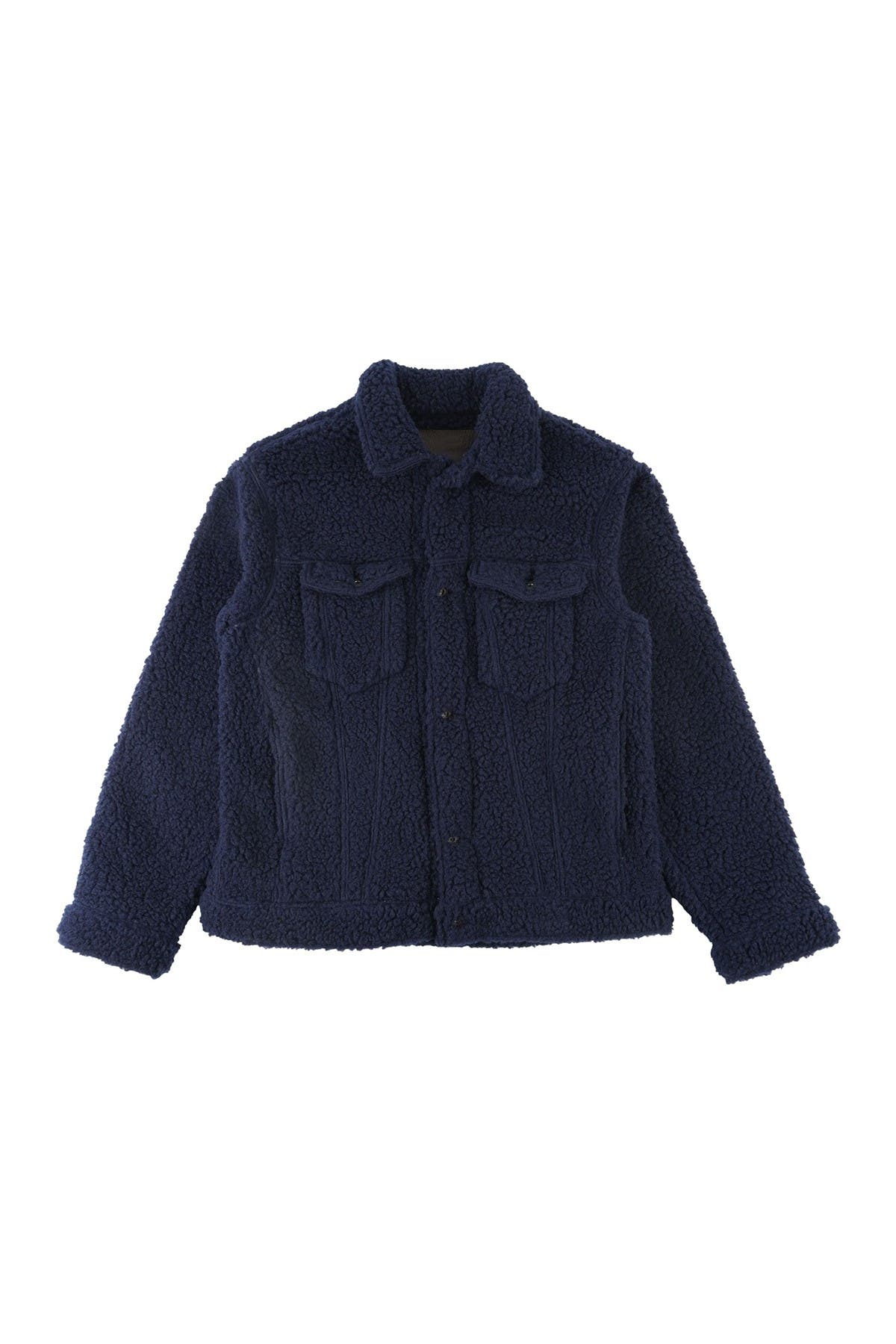 Image of Naked and Famous Navy Denim Fleece Jacket