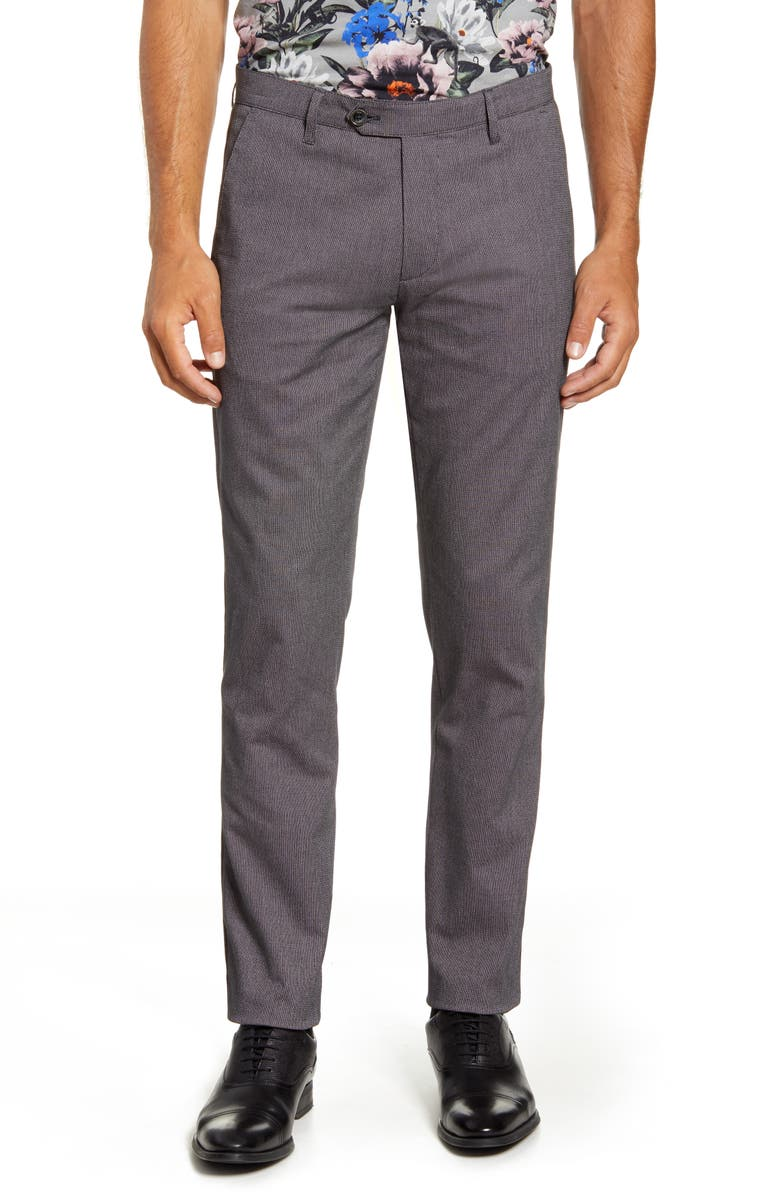 TED BAKER LONDON Slim Fit Striped Tape Pants, Main, color, GREY