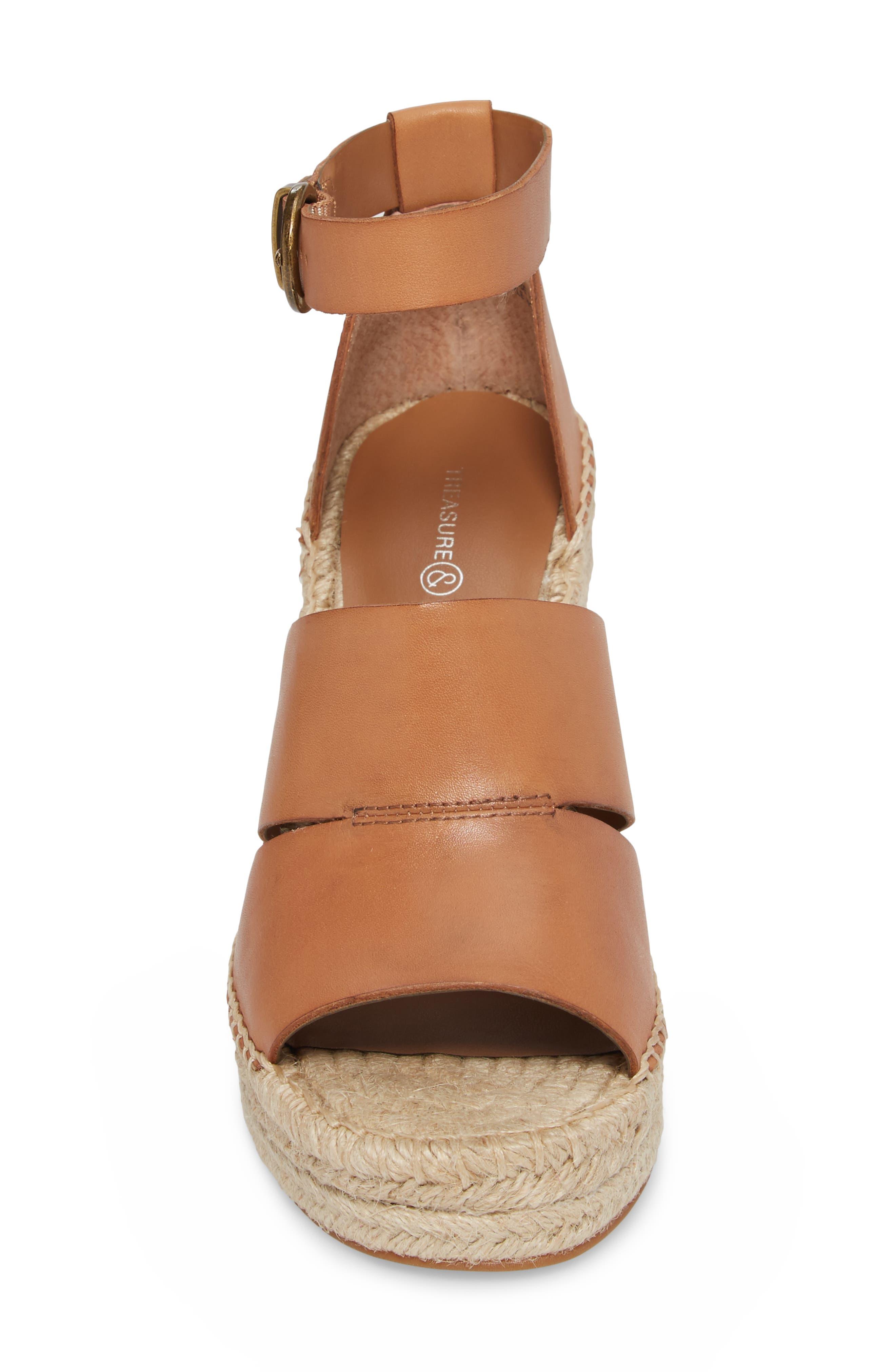 ,                             Sannibel Platform Wedge Sandal,                             Alternate thumbnail 4, color,                             TAN LEATHER