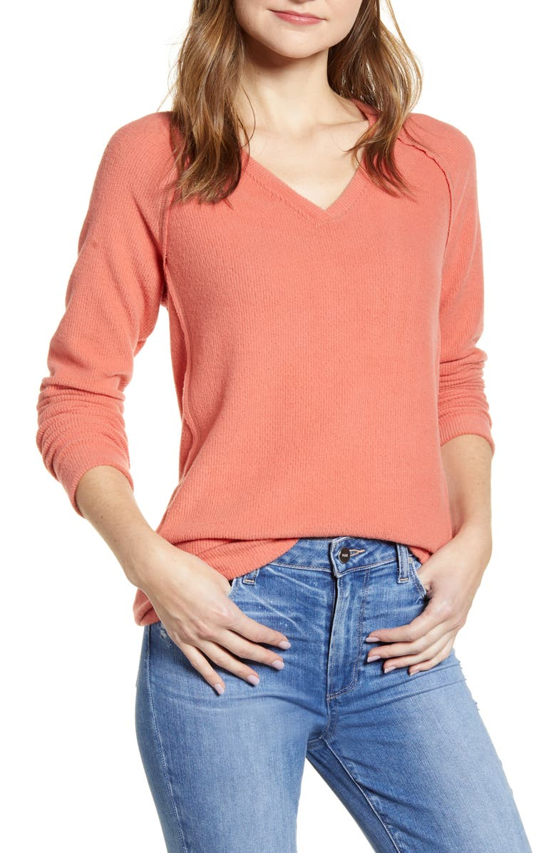 CASLON<SUP>®</SUP> Cozy V-Neck Ribbed Top, Main, color, PINK CEDAR