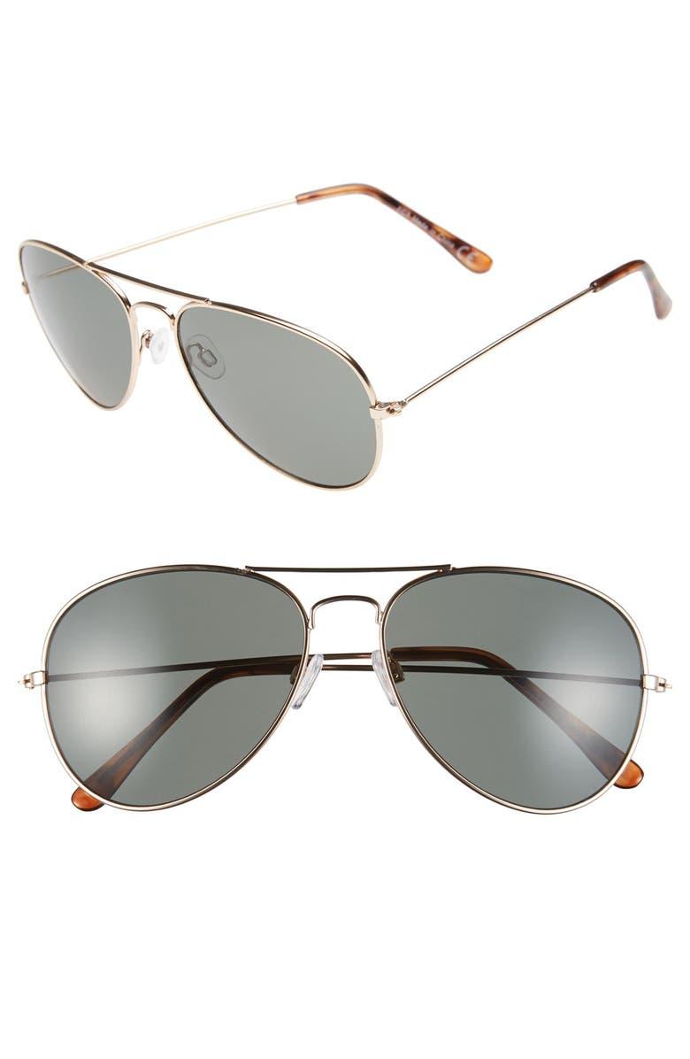 TOPMAN 59mm Aviator Sunglasses, Main, color, 710
