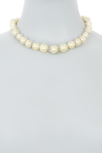 Image of Carolee Crystal Station Imitation Pearl Collar Necklace