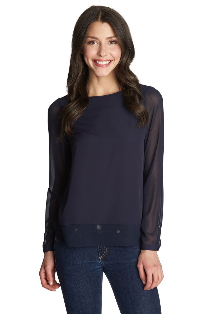 1.STATE Sheer Panel Blouse, Main, color, 400