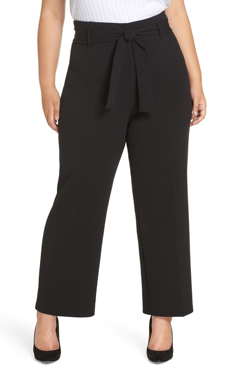 LEITH High Waist Belted Pants, Main, color, BLACK