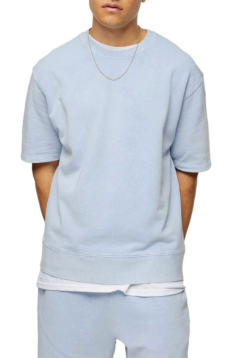 TOPMAN Short Sleeve French Terry Sweatshirt, Main, color, 400