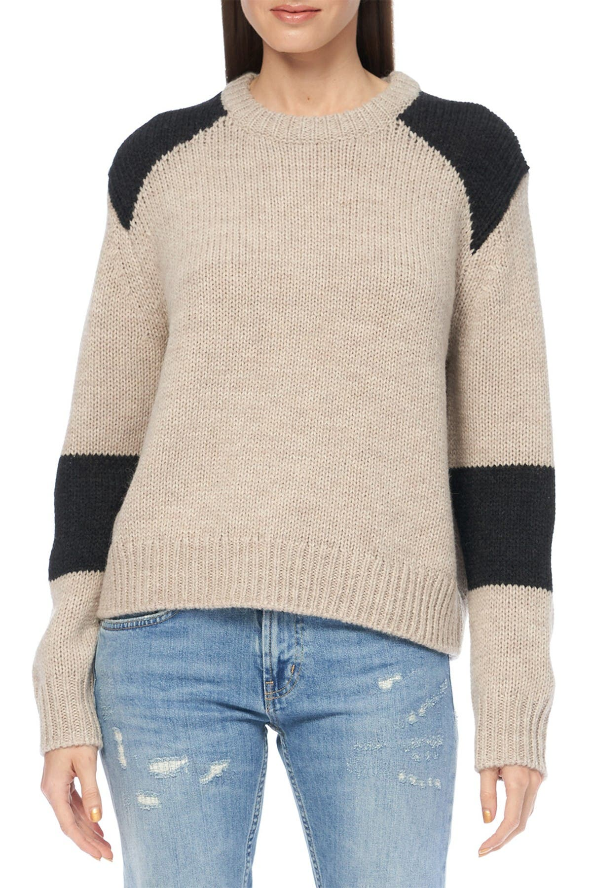 Image of 360 Cashmere Juliana Colorblock Crew Neck Sweater