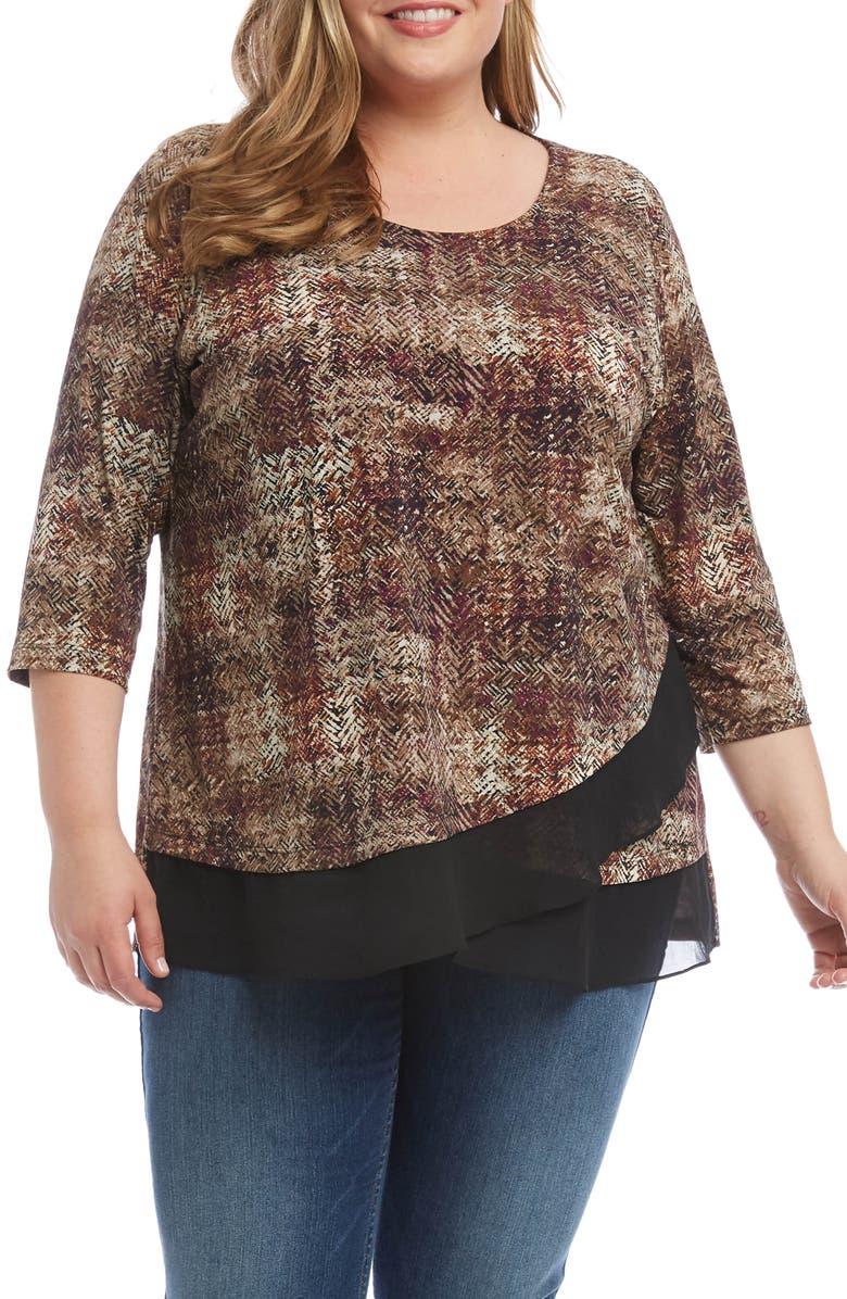 Karen Kane Sheer Hem Top Plus Size