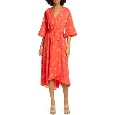 Joie Damon Faux Wrap Dress, Coral
