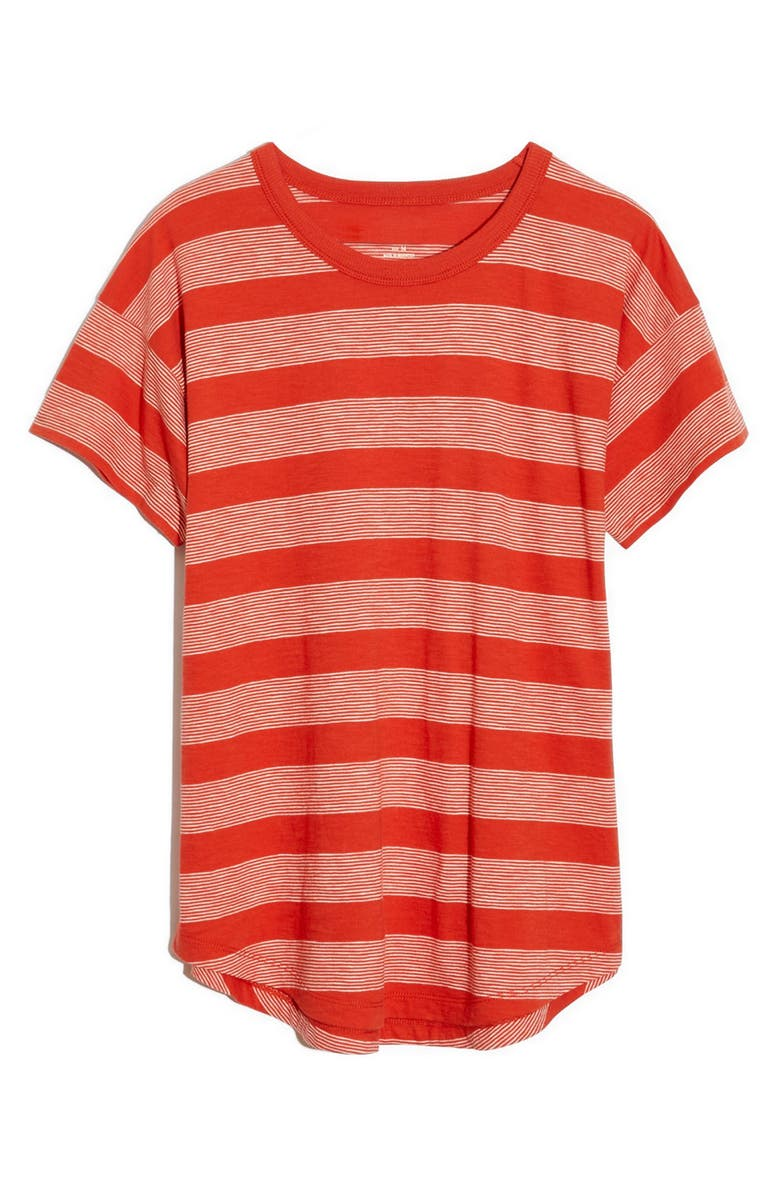 MADEWELL Whisper Cotton Boone Stripe Crewneck T-Shirt, Main, color, THAI CHILI