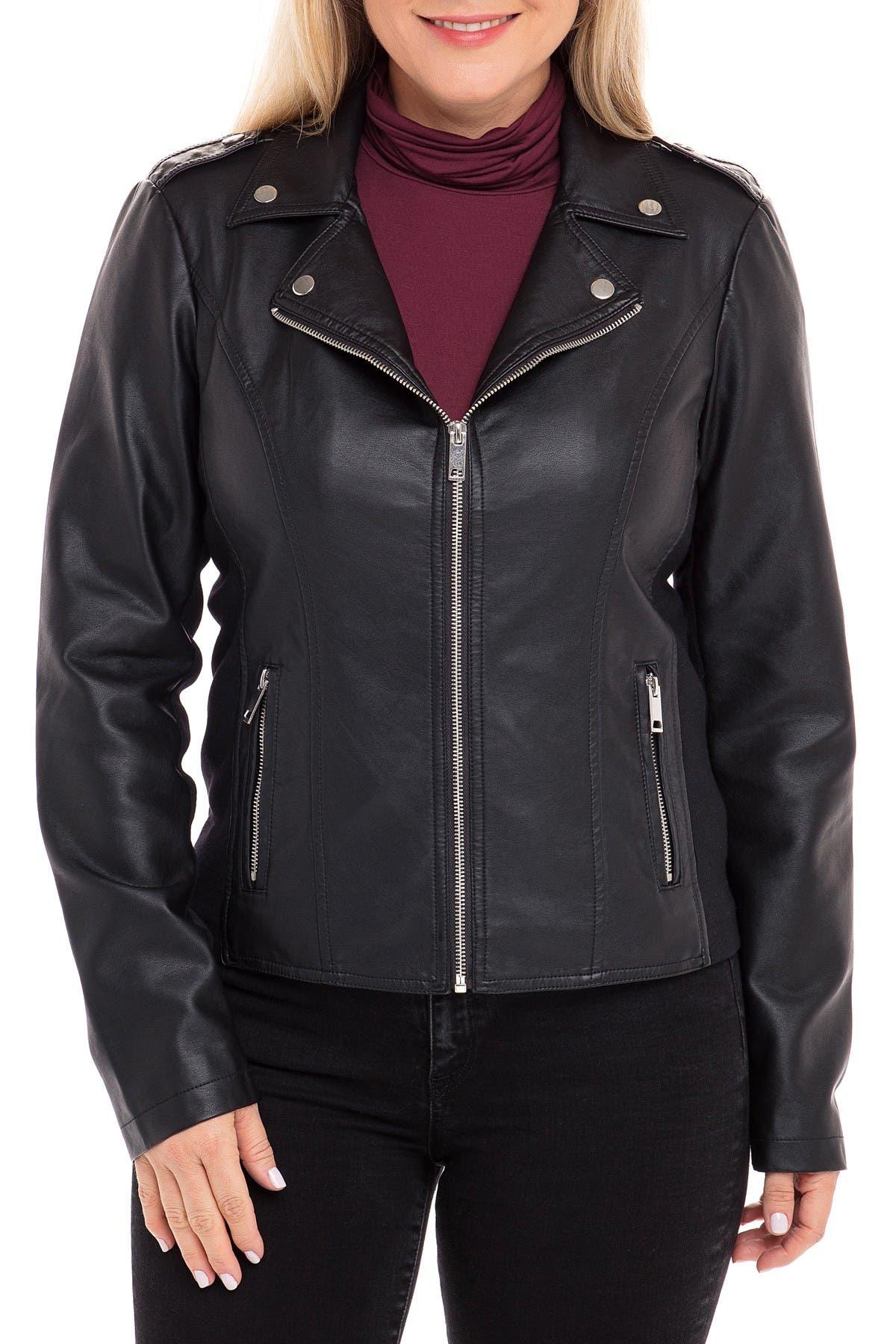 Image of Sebby Center Zip Faux Leather Moto Jacket