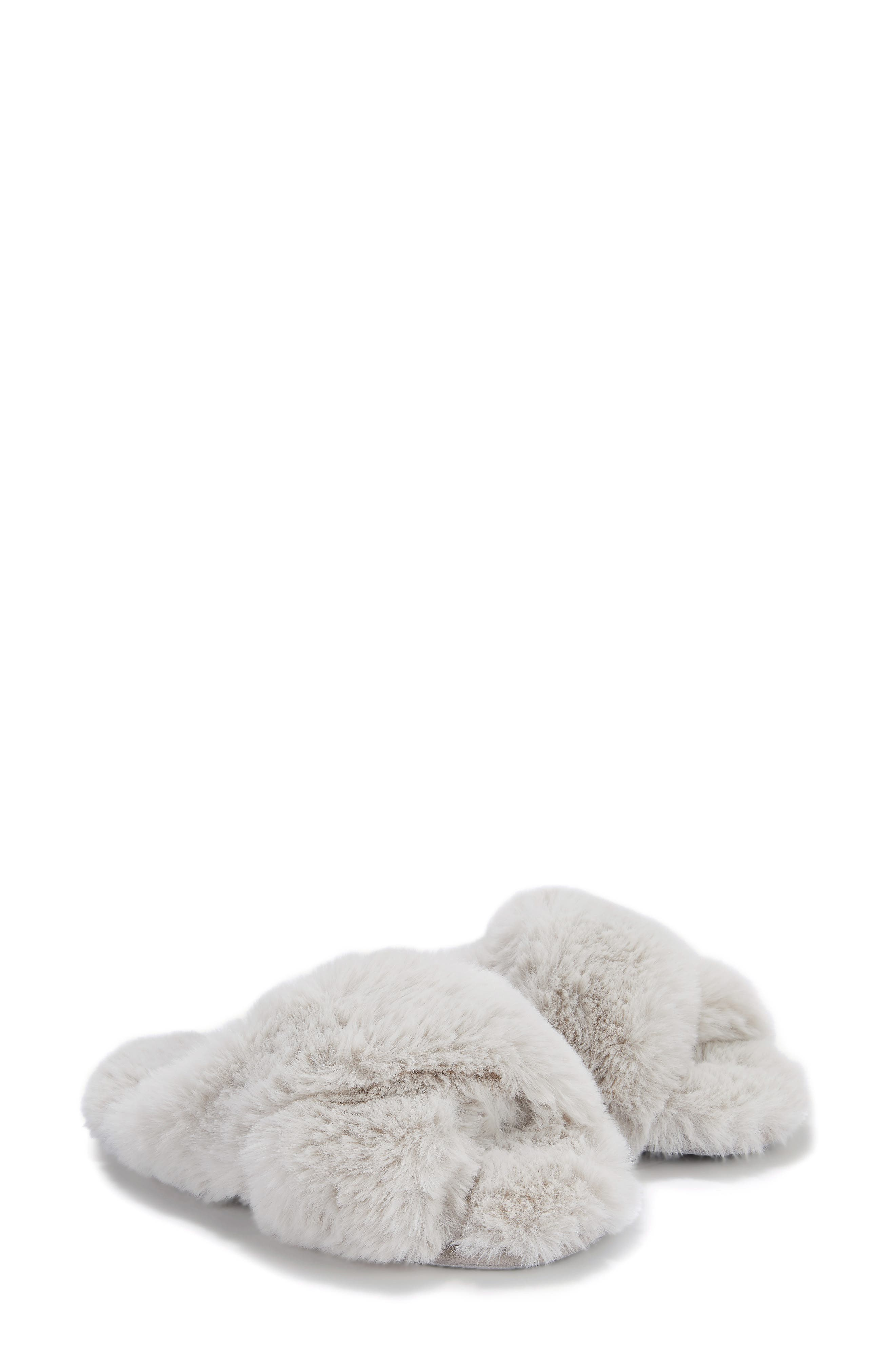 The White Company Cross Front Faux Fur Slipper (Women)