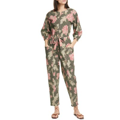 La Vie Rebecca Taylor Peonies Cotton Jumpsuit, Green