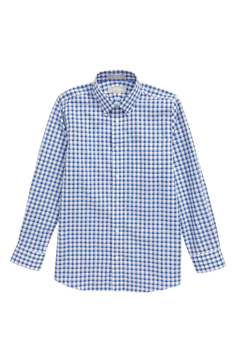 NORDSTROM Plaid Button-Up Dress Shirt, Main, color, BLUE LAKE- WHITE CHECK
